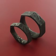 His and Hers Damascus Steel Ring Heptagon by StonebrookJewelry