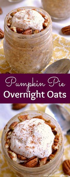 Wake up to a bowl of Pumpkin Pie Overnight Oats! They're fast to make, nutritious and delicious. This easy overnight oats recipe is a tasty fall breakfast!