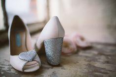 Charlotte Mills chunky heel wedding shoe heart bridal shoe silver sixpence