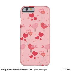 Pretty Pink Love Birds & Hearts Whimsical Pattern