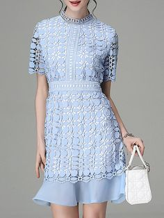 Shop Midi Dresses - Short Sleeve Girly Flounce Guipure Lace Midi Dress online. Discover unique designers fashion at StyleWe.com.