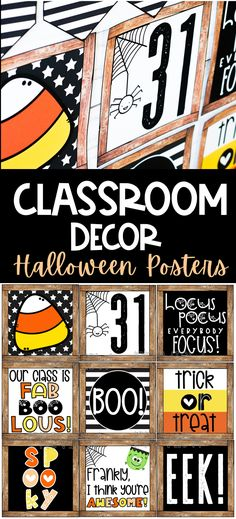 8 Farmhouse Classroom Essentials - Confetti and Creativity Fall Classroom Decorations, Creepy Halloween Decorations, Halloween Party Decor, Classroom Ideas, Classroom Walls, Classroom Posters, Kindergarten Classroom, Farmhouse Halloween, Dollar Store Halloween