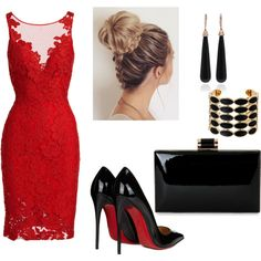 A fashion look from July 2016 by munira-salihovic featuring ML Monique Lhuillier, Christian Louboutin, SUSAN FOSTER and House of Harlow 1960