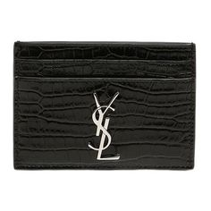 Saint Laurent Women Croc Embossed Monogram Card Holder (340 AUD) ❤ liked on Polyvore featuring bags, wallets, black, logo bags, card holder wallet, metal wallet, yves saint laurent bags and metal card holder wallet
