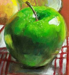 Items similar to Still life original pastel of close-up green apple, kitchen art, by Vernon Grant x soft pastel on Canson paper, Green Apple on Etsy
