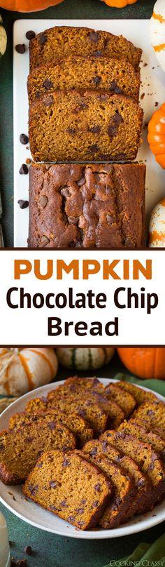 Pumpkin Chocolate Chip Bread via @cookingclassy #pumpkinchocolatechipbread #fall #recipe