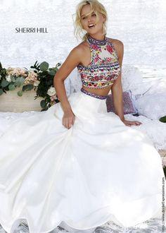 Sherri Hill 50080 Crop Top Embroidered Prom Dress