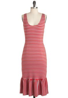 Rules of Playful Dress by Bettie Page - Long, Red, Grey, Stripes, Ruffles, Casual, Maxi, Tank top (2 thick straps), Summer, Pinup, Vintage Inspired, Tis the Season Sale, Scoop