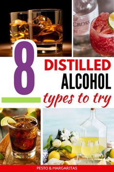 Learn about the distilled alcohol types and what base spirits are as well as what kind of cocktails you can make and which to drink neat Famous Cocktails, Classic Cocktails, Gin Cocktail Recipes, Sangria Recipes, Bourbon Cocktails, Fun Cocktails, Scotch Whiskey, Irish Whiskey, Home Brewing Beer