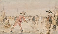 GOLF. A Winter Scene with Two Gentlemen Playing Colf, Hendrick Avercamp, about 1615-20