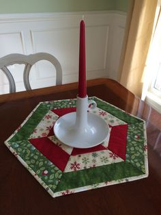 Christmas Red, White & Green Quilted Hexagon Table Runner or Candle Mat