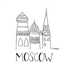 Ville Sketch  Moscou  Illustration noir et blanc  par INKUdesign