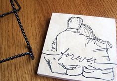 decorative tile with easel stand  couple forever by serenitylane