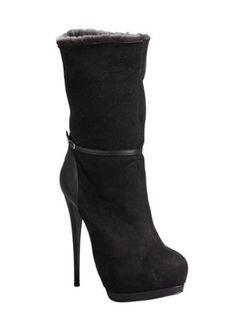black suede 'Eva' shearling lined platform boots