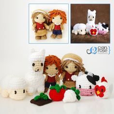 Harvest Moon Amigurumi Set - Crochet Plush Dolls - Set of 9 by Cyan Rose Creations, via Flickr