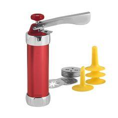 Máquina galletas roja con 20 moldes y 4 boquillas surtidas