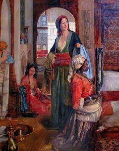 John Frederick Lewis (British, The Harem (detail), 1851 Arabesque, Victorian Paintings, Exotic Art, Turkish Art, Fantasy Paintings, Modern Artwork, Historical Art, Harems, Renaissance
