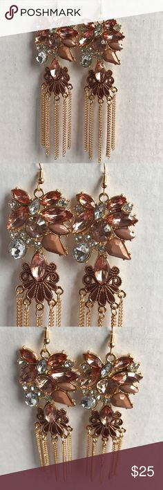 "•new• BLUSH CRYSTAL DANGLE EARRINGS EXQUISITE!! Clusters of gold & crystal stones inset in gold. Gold chains hang from bottom. Fish hook. Length 4.5"". 51Twenty Jewelry Earrings"