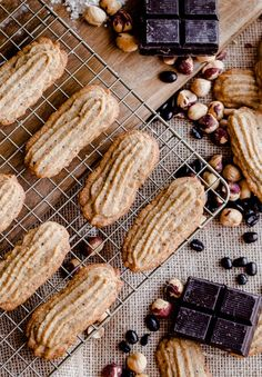 Light and buttery espresso hazelnut cookies with a dark chocolate drizzle!