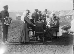 Australian soldiers and army nurses playing cards at Mudros on the Greek island of Lemnos, 19 September 1917.