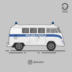 Polizia locale Van Flat Design VW T1