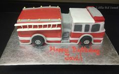 Firetruck Birthday Cake www.littlebitsweet.co