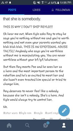 Pick a healthy boyfriend. Kylo Ren is not emotionally healthy and is AT BEST *thisclose* to abusive. (I don't really ship Poe and Rey but I agree with this!)
