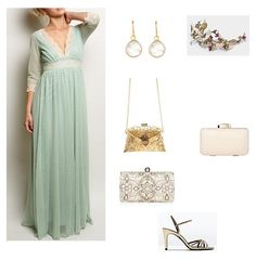 look boda vestido largo verde mint