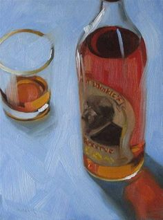 """Pappy Van Winkle 6x8 oil"" - Original Fine Art for Sale - © Claudia Hammer"