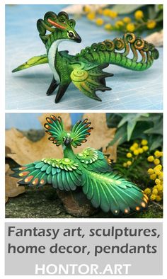 Dragons and Fantasy Animals Miniatures by Evgeny Hontor. Painted and unpainted totem polymer clay figurines for Home decor, aquarium decor and collecting. Clay figurines of fantasy creatures, animals and dragons. Fantasy art, Sculptures, Home decor, Pendants. Fantasy creatures, fairy beasts and cute aliens #animalminiatures #claytutorial #clayart #clayprojects