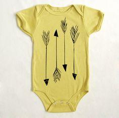 OOPS SALE - Arrows 6-12m Printed Organic Baby Onesie in Dijon. $17.25, via Etsy.