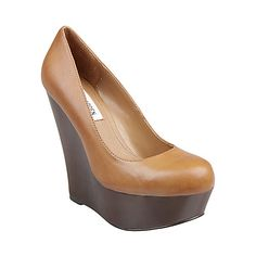 """""""Pannick"""" wedge in 'natural leather' color from Steve Madden.  (4"""" heel height.)"""