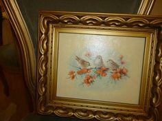 Pretty Vintage Gold Framed Picture Of Birds by nanciesvintagenest, $22.00