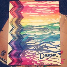 Melted crayon art!  I like the zig zag