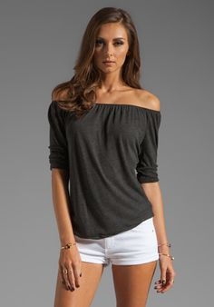JAMES PERSE A Line Off the Shoulder Top in Black at Revolve Clothing