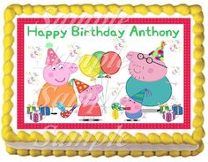 Peppa Pig  number1 Edible Frosting Sheet Cake Topper - 1/4 Sheet >>> Special discounts just for this time only  : Baking decorations
