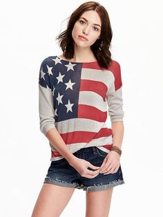 Women's Flag-Pattern Lightweight Sweaters - $29 at Old Navy // via Shop My Picks: 4th of July // The Busy Girl's Shopping Companion #fourth #independence #usa #patriotic #flag