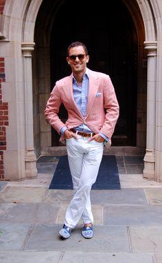 Salmon-colored herringbone blazer | Men's Fashion | Menswear | Men's Outfit for Summer Weddings | Moda Masculina | Shop at designerclothingfans.com