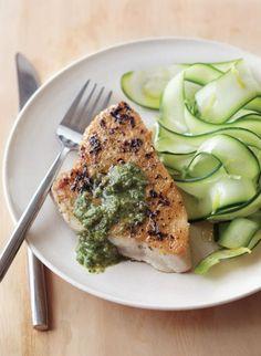 Grilled Tuna with Basil-Walnut Sauce
