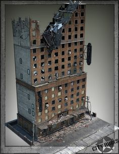 City Ruins Building 02 is a script/utility, cityscape/building, horror, scene, structure for Daz Studio or Poser created by Stonemason. Game Terrain, 40k Terrain, Wargaming Terrain, Warhammer Terrain, Warhammer 40k, Model Building, Building Design, Ruined City, Environment Concept Art