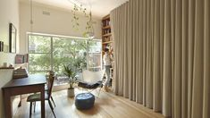 Michael Roper from Architecture architecture has completed the interiors of a small micro apartment in Melbourne, Australia, that features a clever design Small Apartment Decorating, Apartment Design, Small Apartments, Small Spaces, Tiny Living, Living Spaces, Floor To Ceiling Curtains, Fold Down Beds, Plafond Design