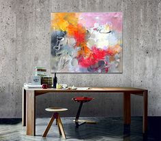Canvas Art Acrylic Painting, Original Painting Canvas Art, Abstract Canvas Wall Art, Contemporary Home Decor, Ready to hang Wall Art, Large Wall Art, Colorful Living Room Decoration. Original Painting by Gabi Ger Acrylic painting on Canvas The painting was made using Amsterdam Acrylic Colors by Royal Talens, on proofed quality cotton Canvas, Magazines, Collage, Extra Heavy Gel, Different Brushes, Painting Knife. Finishing with special water base, acrylic lacquer. Colors: orange, bordo...