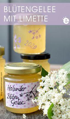 Rezept für sommerliches Holunderblütengelee mit Limette Food, Canning, Chef Recipes, Vegan Snacks, Treats, Essen, Meals, Yemek, Eten