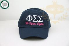 I really want this hat with white greek letters and hot pink words on a navy hat with the hot pink bow on the back -me Hey, I found this really awesome Etsy listing at https://www.etsy.com/listing/195165644/phi-sigma-sigma-sorority-baseball-cap