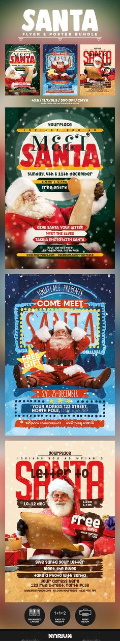 Buy Meet Santa Flyer & Poster Bundle by Mariux on GraphicRiver. Check out the SOCIAL BUNDLE version here Meet Santa Flyer and Poster Bundle Print dimensions: F. Christmas Flyer Template, Christmas And New Year, Christmas Christmas, Xmas, Meet Santa, Facebook Cover Template, Poster Fonts, Flyer Design Inspiration, New Year Designs