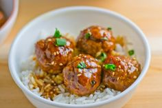 Chicken Teriyaki Meatballs - baked chicken meatballs with sweet, sticky and delicious teriyaki sauce.