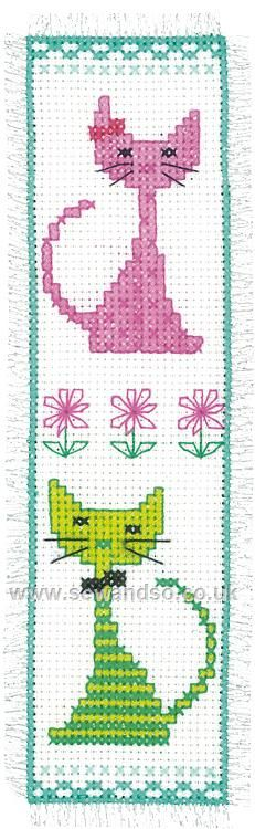 Buy Pink and Green Cat Bookmark Cross Stitch Kit Online at www.sewandso.co.uk