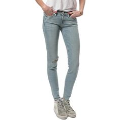 Frame Skinny Jean ($55) ❤ liked on Polyvore featuring jeans, mcki, faded glory skinny jeans, distressed jeans, distressing jeans, destructed jeans and denim skinny jeans
