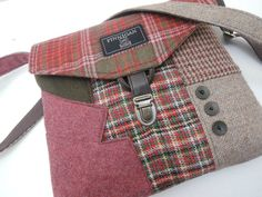 Recycled Crossbody Purse, iPhone pocket,Recycled mens suit coat, Pink Green   Wool, Eco Friendly,  Back to School, Tote bag