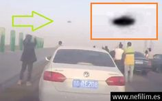 Espectacular UFO Discoidal Causa Conmoción Parando el Trafico en Guangzhou China